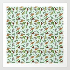 Dinosaurs & Leaves Art Print