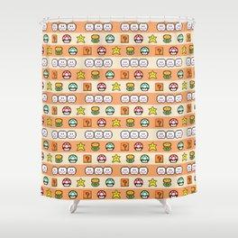Pixel Game Retro (Orange) Shower Curtain