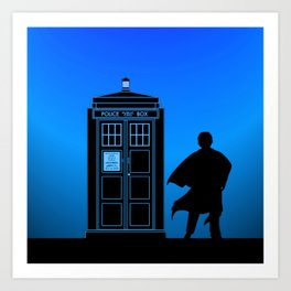 Tardis With The Third Doctor Art Print