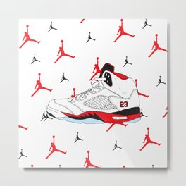 Jordan 5 Fire Red Metal Print