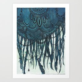 Blue Ink Dreamcatcher Art Print