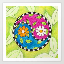 Yin and Yang Flowers Art Print