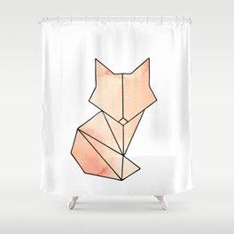 Geometric Fox - Orange Shower Curtain