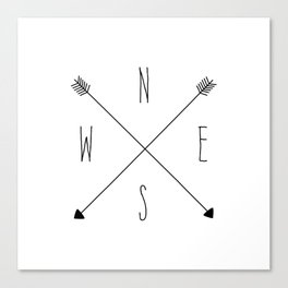 Compass - North South East West - White Canvas Print