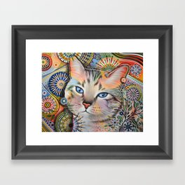 Aslan ... Abstract cat art painting, by Amy Giacomelli Framed Art Print