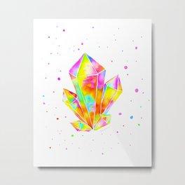 Rainbow Crystal Cluster Metal Print