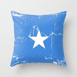 Somalia flag with grunge effect Throw Pillow