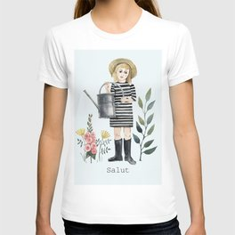 salut! little girl with flowers T-shirt