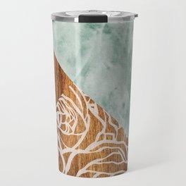 Wood + Geometric Pattern Travel Mug