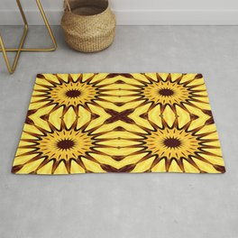 Sunflowers Yellow & Brown Pinwheel Flowers Rug