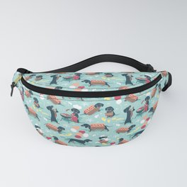 Hot dogs and lemonade // aqua background navy dachshunds Fanny Pack