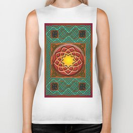 Celtic Knotwork panel in Persian Green Biker Tank