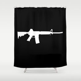 AR-15 (on black) Shower Curtain