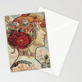 Lady With Flowers - Alphonse Mucha Stationery Cards
