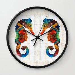 Colorful Seahorse Art by Sharon Cummings Wall Clock
