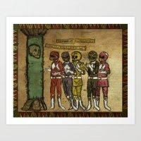 power rangers Art Prints featuring Power Rangers Medieval by Pierce Skinner