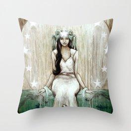 Swim Beyond // Mermaid Whale Moon Stars Sharks Ocean Sea Underwater Goddess Mother Beach B Throw Pillow