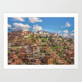Favelas at Hill, Medellin, Colombia Art Print