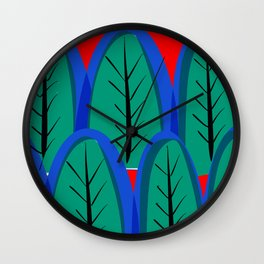 Minimal Forest And Red Sky With Sun Pattern Art Abstract Wall Clock