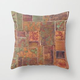 Red Patina Patchwork Throw Pillow