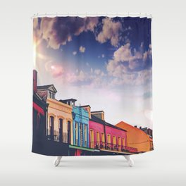 Sunny Blue Skies and New Orleans French Quarter Architecture Cityscape Shower Curtain