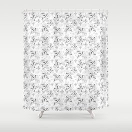 White grey floral pattern Shower Curtain