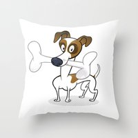 jack russell Throw Pillows featuring Jack Russell by drawgood