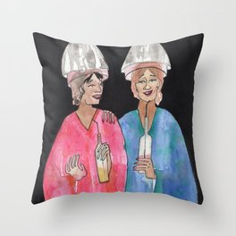 Sipping Salon Gossip Throw Pillow