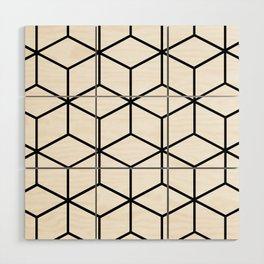 Black and White - Geometric Cube Design I Wood Wall Art