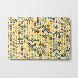 Firs, geometric mosaic of trees in soft autumn colors Metal Print