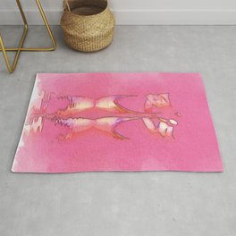 Watercolor Minimal Pink Ballet Pointe Shoes on Ballerina Feet Classically Dancing on Water with Grace and Reflection Rug