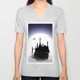 Moonlight Stanza - Night Sea, Castle & the Moon Unisex V-Neck