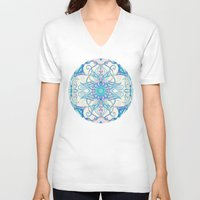 bedding V-neck T-shirts featuring Teal Blue, Pearl & Pink Floral Pattern by micklyn