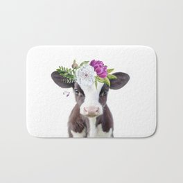 Baby Cow with Flower Crown Bath Mat