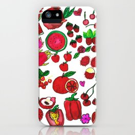Red Fruits Drawing iPhone Case