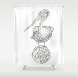 Holding on - The Dalmatian Pelican Shower Curtain