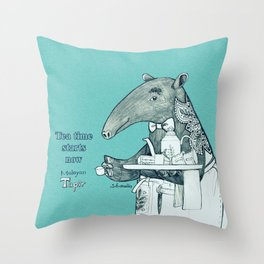 Tea time starts now - Malayan Tapir - Bule Throw Pillow