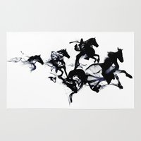 horses Area & Throw Rugs featuring Black horses by Robert Farkas