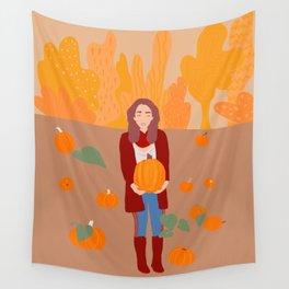 On the pumpkin field Wall Tapestry