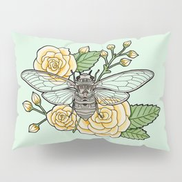 Cicada with Roses - Mint Pillow Sham