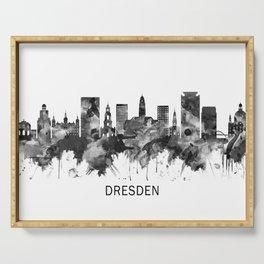 Dresden Germany Skyline BW Serving Tray