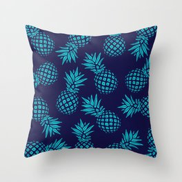 Pineapple Pattern - Teal on Navy Throw Pillow