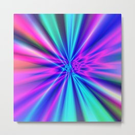 Aqua Magenta Fractal Night Club Lights Metal Print