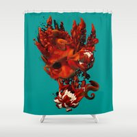 karma Shower Curtains featuring Karma by angrymonk