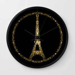 Eiffel Tower gold sparkles peace symbol Wall Clock