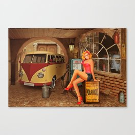 Pin up girl in nostalgic workshop Canvas Print
