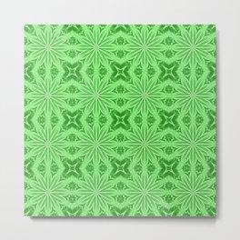 Green Flower Cross Pattern Metal Print