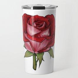 Large Red Rose Flower Travel Mug
