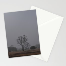 Misty Morning Tree on the Moors   Scenic Landscape photography - Fog Netherlands Stationery Cards
