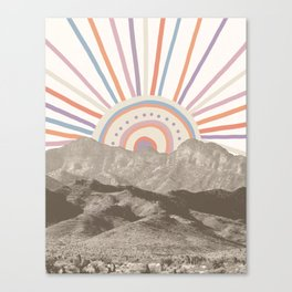 Summerlin Mountain Up // Abstract Vintage Mountains Summer Sun Surf Beach Vibe Drawing Happy Wall Ha Canvas Print